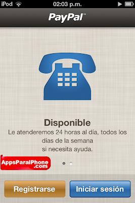2da. Vista de la aplicación de Paypal Móvil