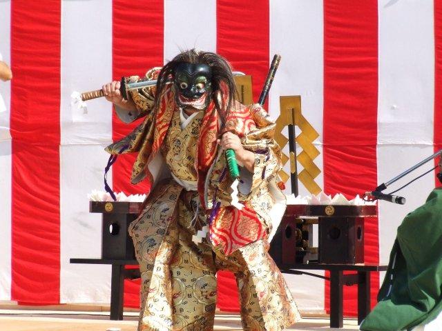 Dai Dai Kagura (dance with god) at Sasamori Inari Jinja Shrine, Kanra Town, Gunma Pref.