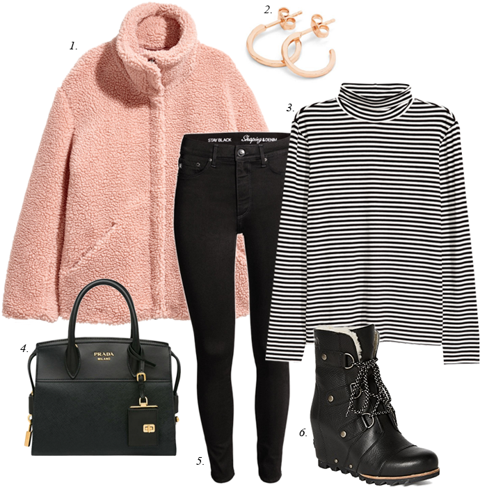striped shirt skinny jeans sorel boots