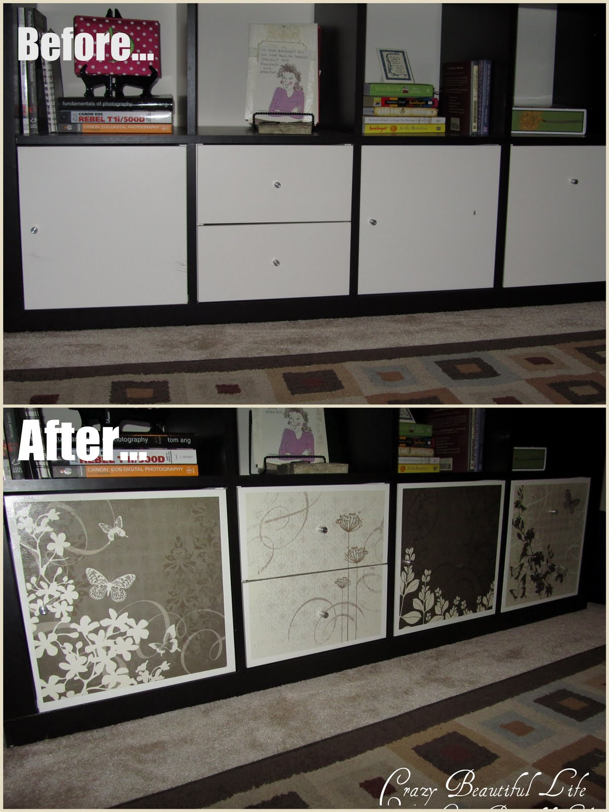 glitter glue and paint spiced up ikea expedit. Black Bedroom Furniture Sets. Home Design Ideas