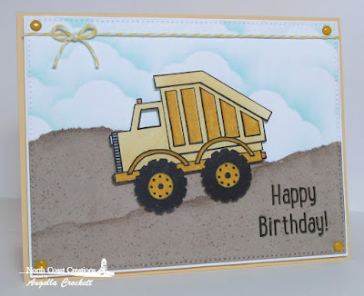 NCC Dump Truck Birthday, ODBD Custom Pierced Rectangles, ODBD Custom Clouds and Raindrops Dies, Card Designed by Angie Crockett