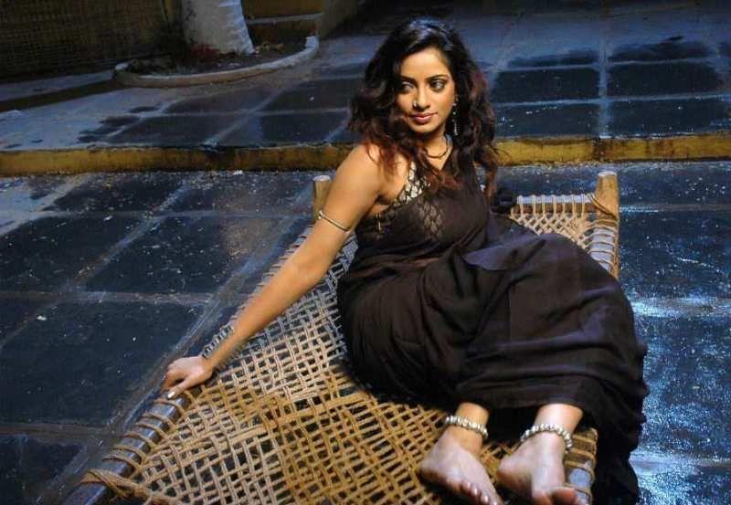 Hot Indian Actress In Sexy Black Transparent Wet Saree -3448