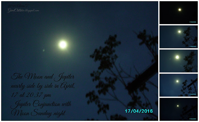 """Jupiter Conjunction with Moon Sunday night Sunday evening will feature another neat event. The Moon and Jupiter will be nearly side by side."" ""Usually the waxing gibbous moon washes out most of the night sky. But, Jupiter is so bright you won't miss it."""