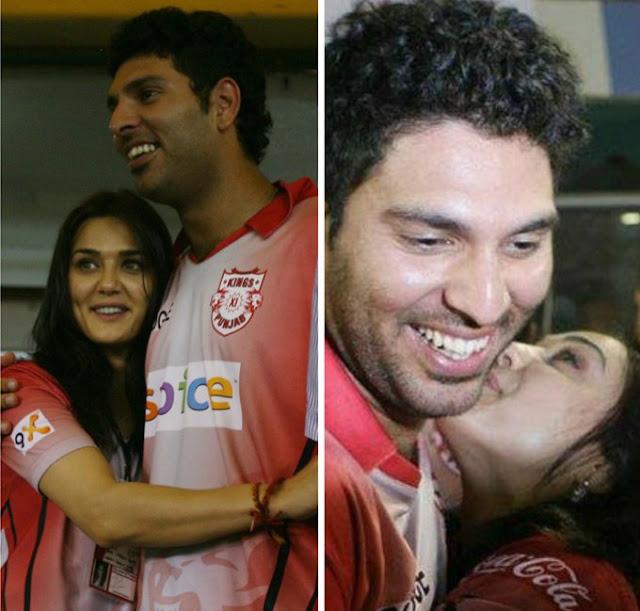 Preity Zinta and Yuvraj Singh Kissing in Public