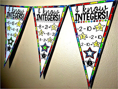 Adding and subtracting integers math pennant