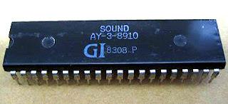 Imagen con el chip de sonido AY-3-8910 de GI (General Instruments)