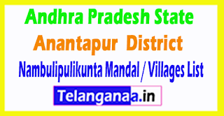 Nambulipulikunta Mandal Villages Codes Anantapur District Andhra Pradesh State India