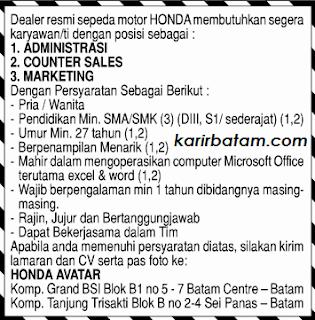 Lowongan Kerja PT. Honda Avatar Indonesia