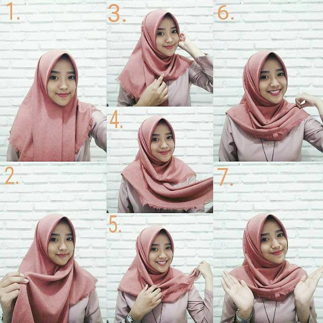 Cara Pakai Jilbab Segi Empat yang Simple Namun Elegan