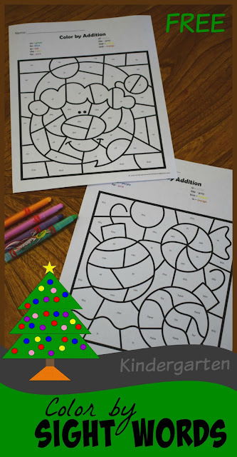 FREE Christmas Color by Kindergarten Sight Words is such a fun way for kids to practice sight words while strengthening fine motor skills they will need to write letters and words. #christmasprintables #christmasworksheets #sightwords