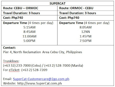Supercat schedule fare rates ormoc cebu