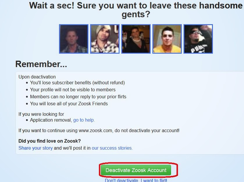 How to deactivate a zoosk account
