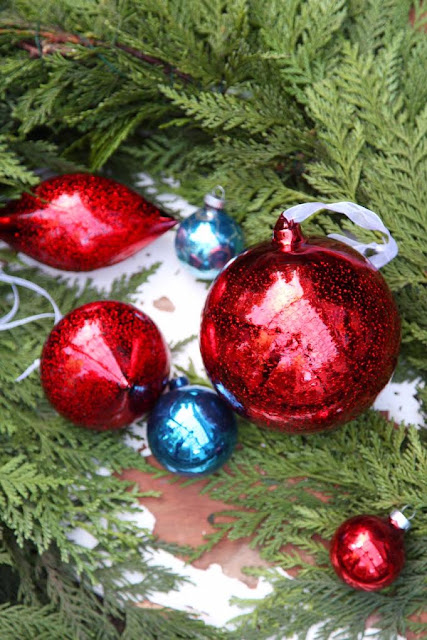 Red and blue vintage and new glass ornaments