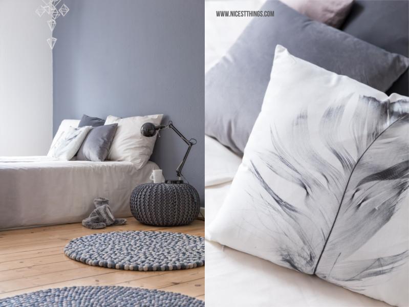 Schlafzimmer mit Kugelteppich Filzkugelteppich