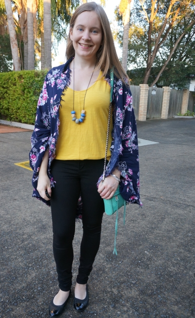 SAHM style navy floral kimono black nobody denim skinny jeans mustard tank rebecca minkoff mini MAC