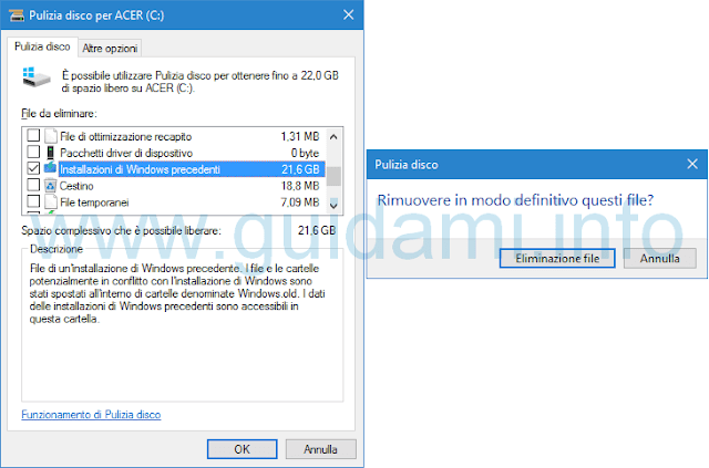 Windows 10 Pulizia disco Installazioni di Windows precedenti