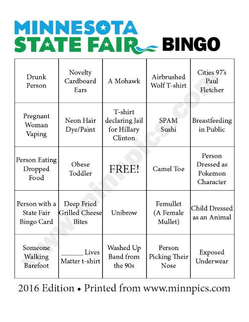 2016 Minnesota State Fair Bingo Card #1 - minnpics.com