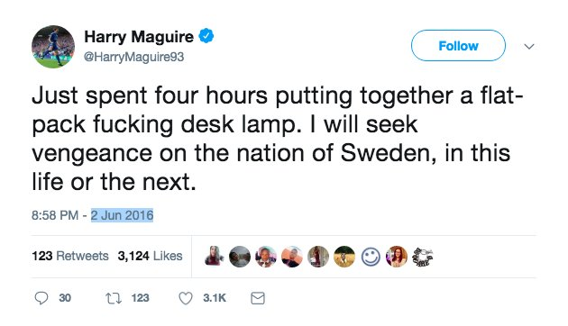 A screenshots of a tweet reportedly posted by Harry Maguire in 2016 goes viral