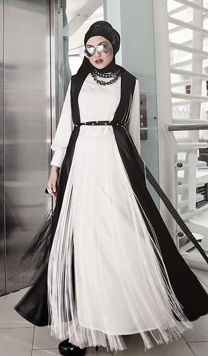 Desain Fashion Busana Hijab Hitam Dan Putih Butik Busana Sederhana