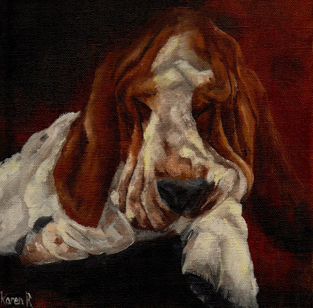 an oil painting of a sleeping basset hound