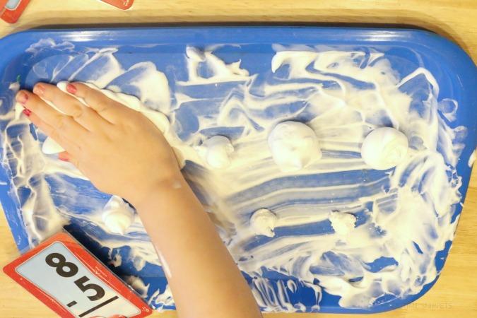 learn math skills with shaving cream