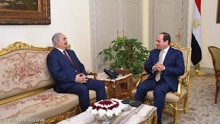 السيسي يبحث مع حفتر مستجدات الاوضاع فى ليبيا