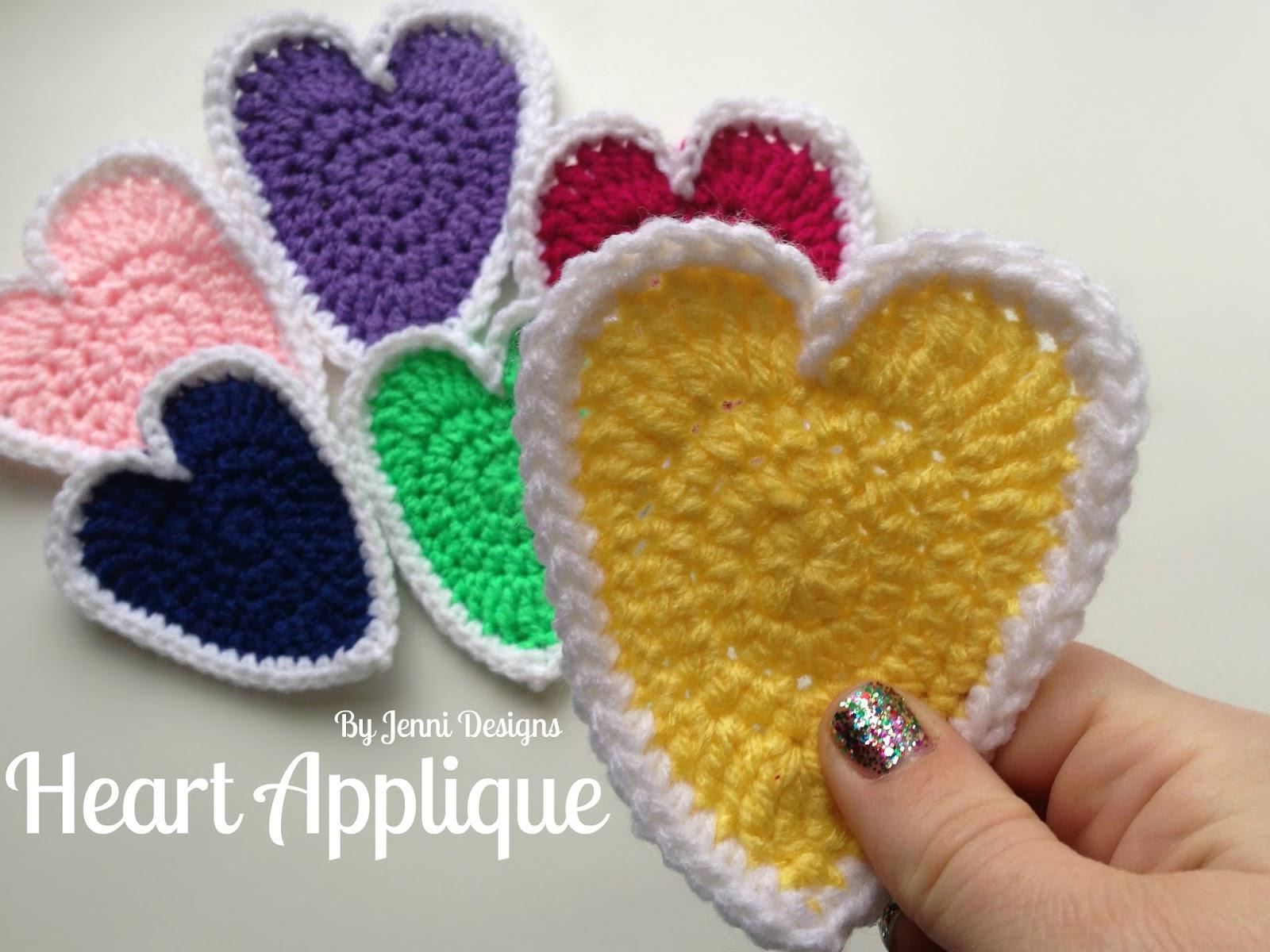 By jenni designs free crochet pattern tutorial heart applique