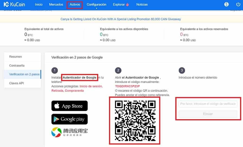 google authenticator teléfono APP KuCoin