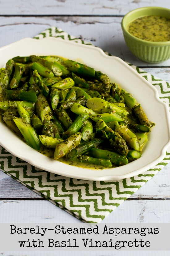 Barely Steamed Asparagus with Basil Vinaigrette found on KalynsKitchen.com