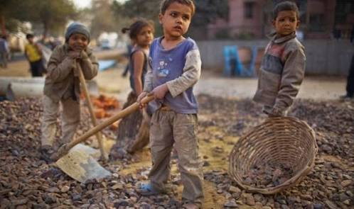 Poor Indian Children working to feed themselves and their families.