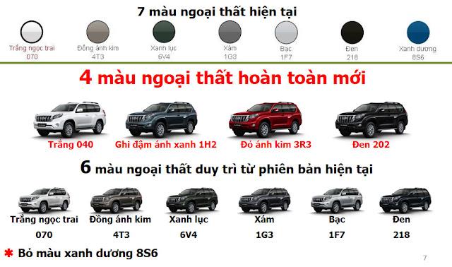 Toyota Land Cruiser Prado có thêm 4 màu mới