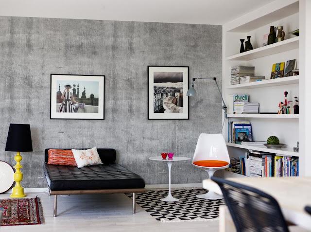 betongtapet grå vardagsrum tapet betongvägg