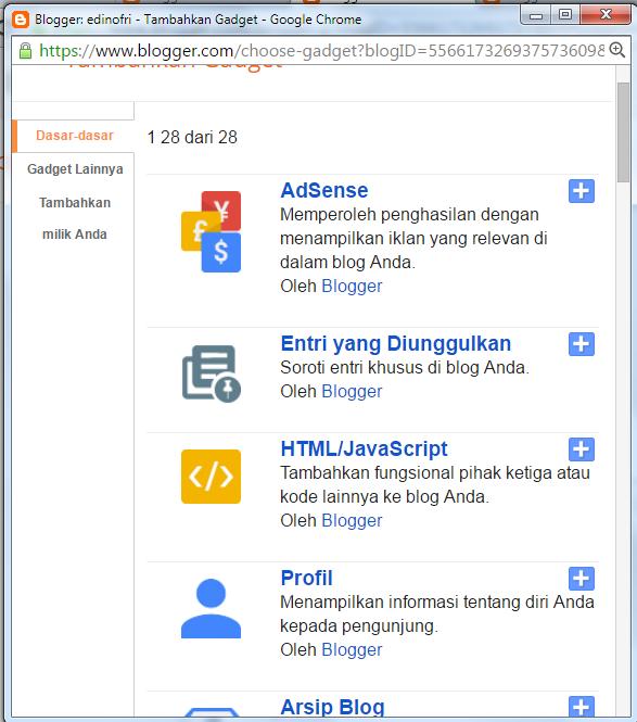 Tambah Gadget HTML/Javascript