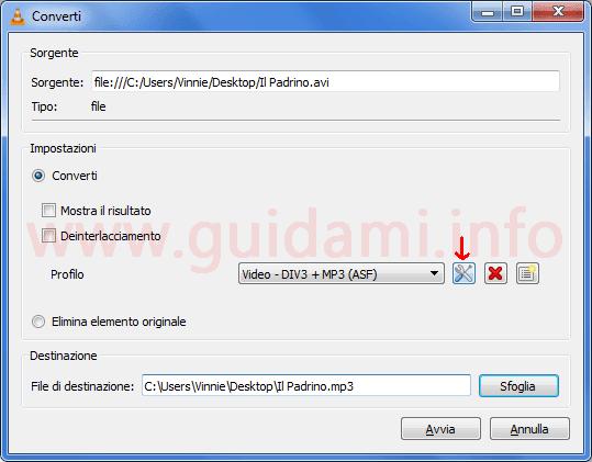 VLC finestra Converti