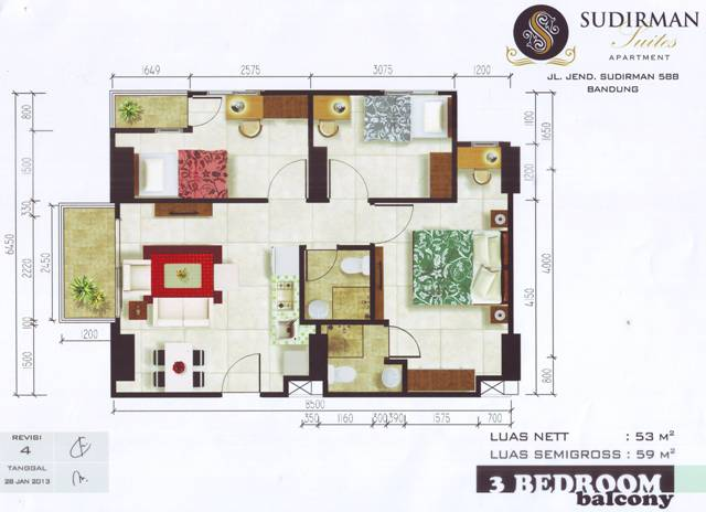 Apartemen Istana Group Denah Type 3 Bedroom Sudirman Suites Apartment