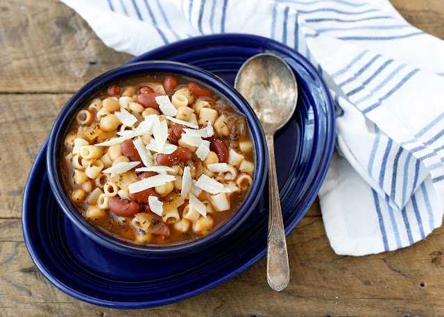 Pasta E Fagioli, or Pasta with Beans, is the perfect way to welcome fall weather! get the recipe at barefeetinthekitchen.com