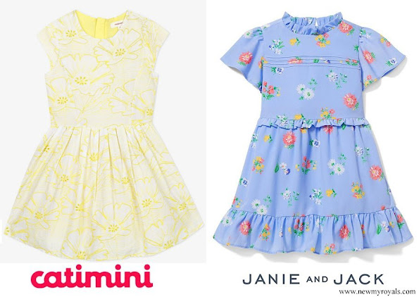 Leonore in Catimini broderie anglaise dress and Adrienne in Janie and Jack ruffle trim floral print dress