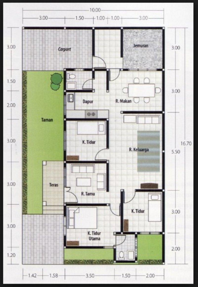 Denah Rumah Minimalis 1 Lantai Ukuran 7x10 Desain Rumah Minimalis