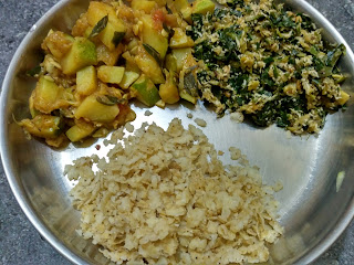 Wheat beaten (poha), Moringa Tender Pumpkin poriyal, Tender pumpkin curry