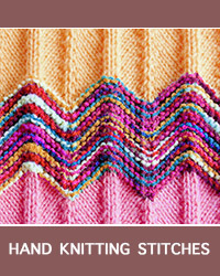 Chevron Textured Pattern, Hand #KnittingStitches. This cheerful two-row pattern is easy to customize in terms of size with the addition of 14-stitch repeats