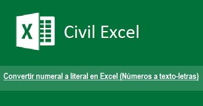 Excel Numeral a Literal (Texto - Letras)