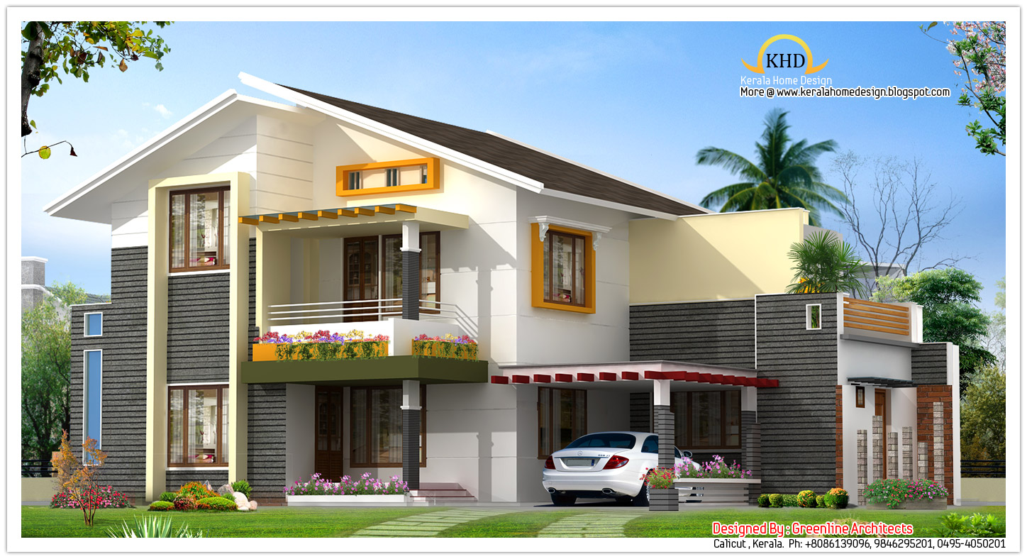 Beautiful villa elevation 1850 sq ft kerala home for First floor house plans in india