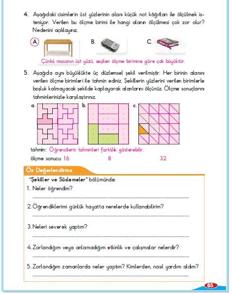 3. Sınıf Berkay Yayınları Matematik Çalışma Kitabı 65. Sayfa Cevapları Alan 4. Çalışma