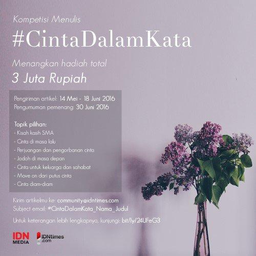 """Kompetisi menulis """"Cinta Dalam Kata"""" DL 18 Juni 2016"""