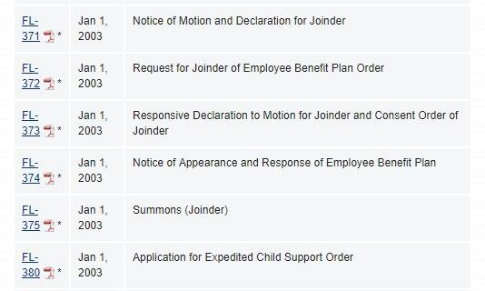 California Judicial Council Forms