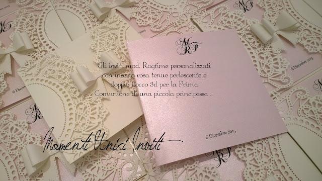 1 Gli inviti per la Prima Comunione di MichelaColore Bianco Colore Rosa Colore Rosa Cipria Partecipazioni intagliate