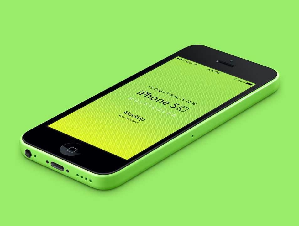 Colourful iPhone 5C PSD Mockup