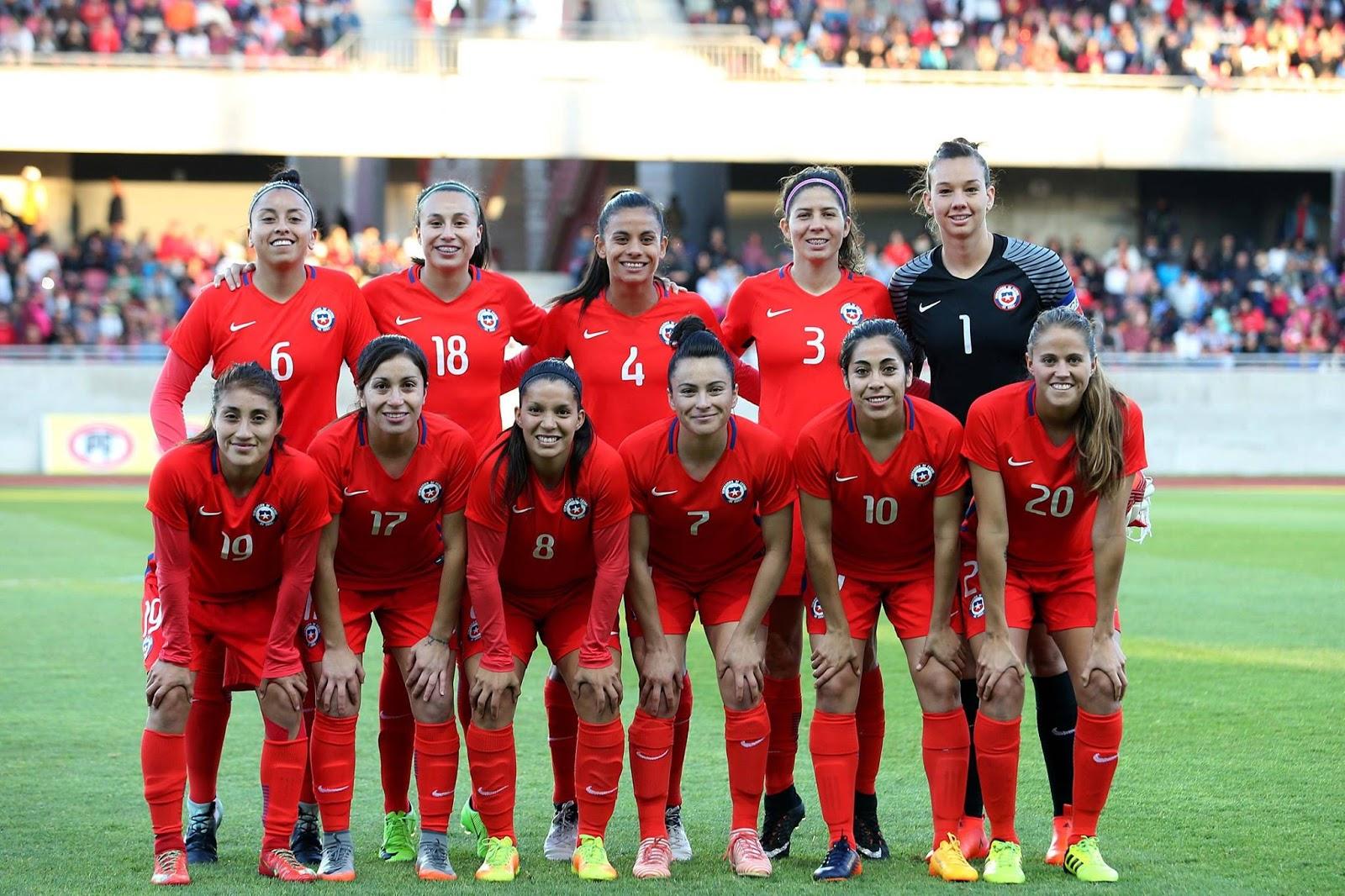 Formación de selección femenina de Chile ante Brasil, amistoso disputado el 28 de noviembre de 2017