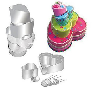 Heart and topsy-turvy wedding cake tins pans