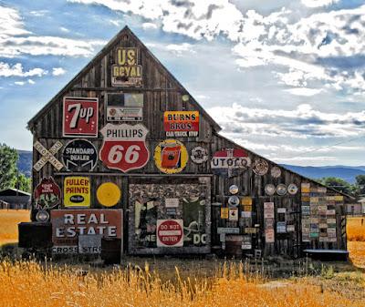 fine art photograph old barn sign vintage Phillps 66